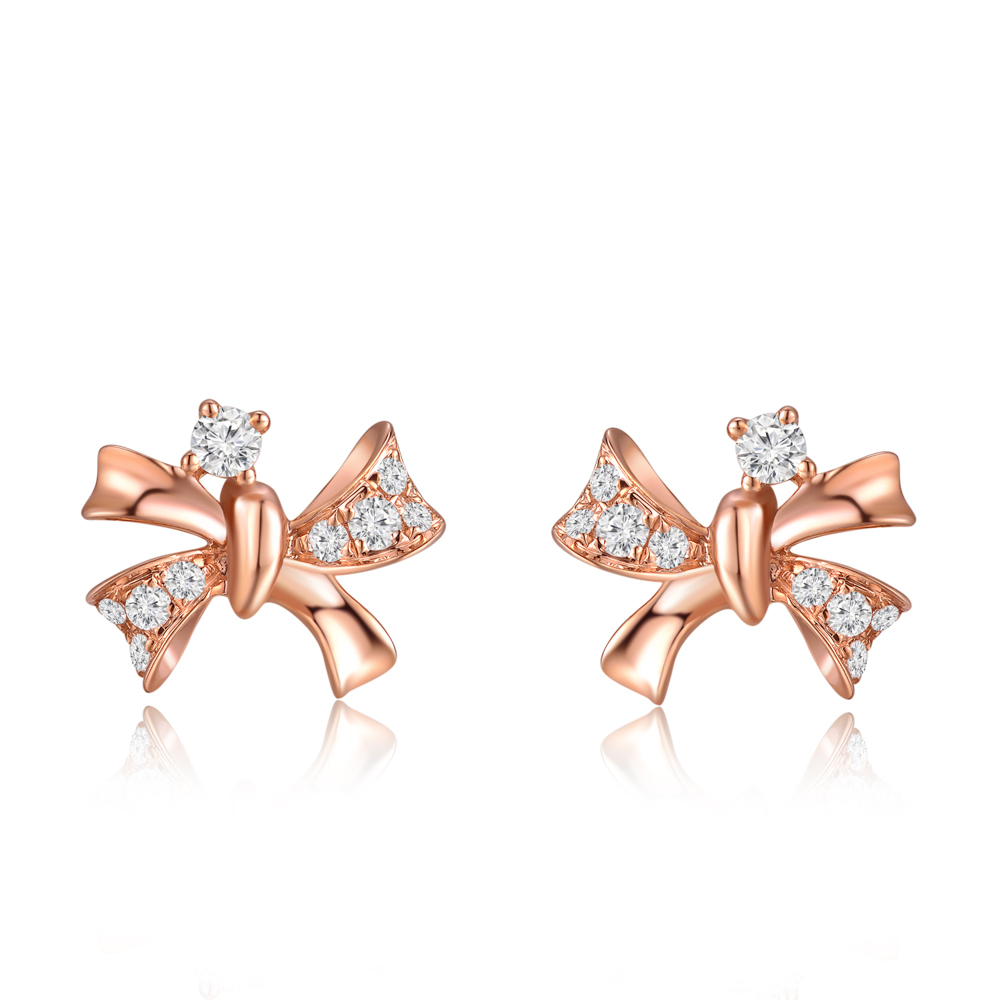 Royal Complex 9K/375 Red Gold Diamond Earrings