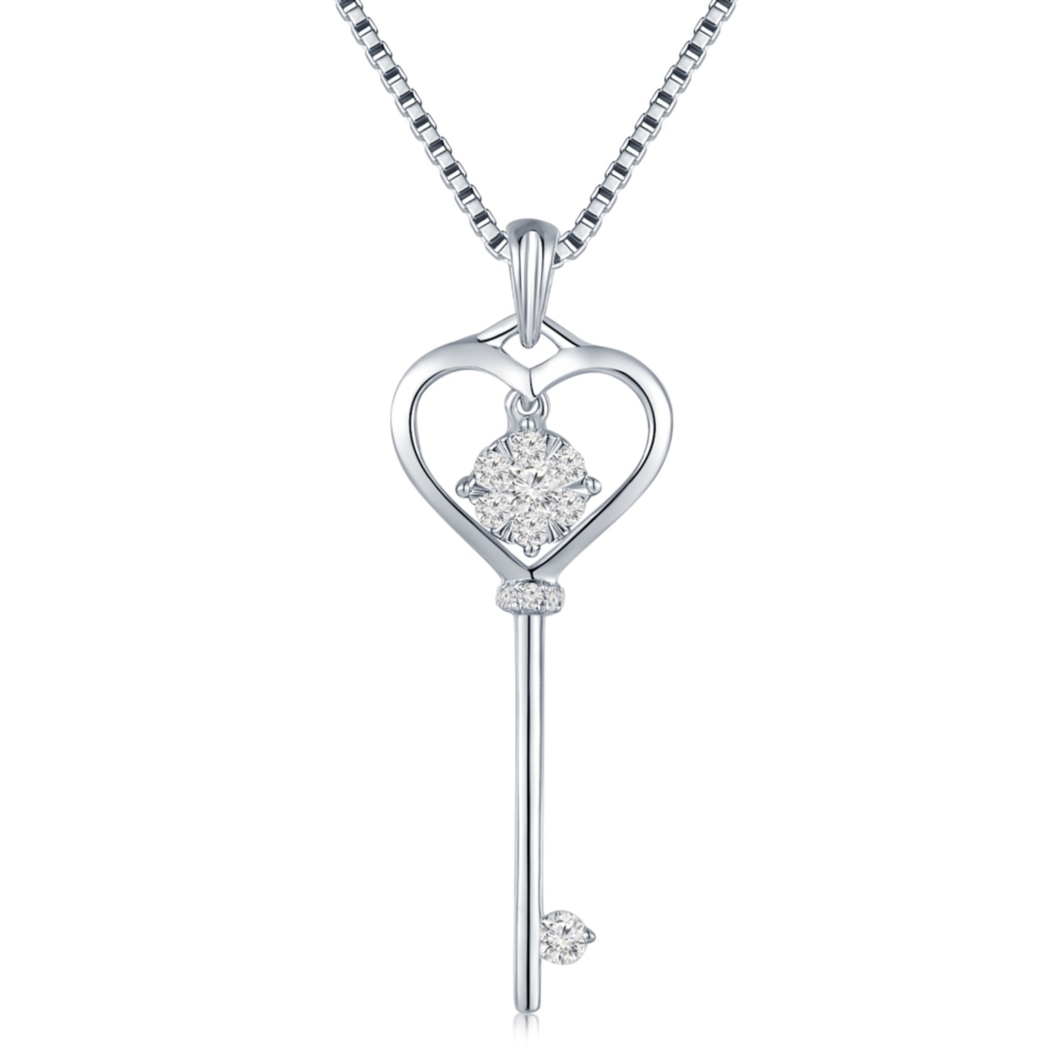 18K/750 White Color Gold Diamond Pendant