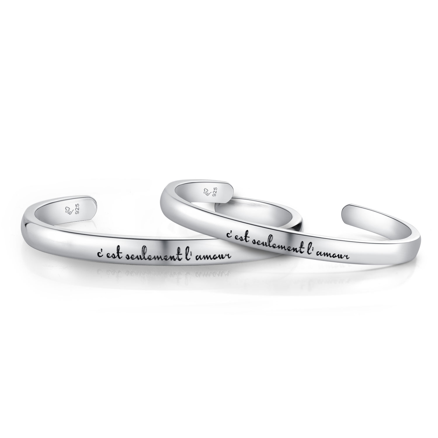 A10416SET-925 Silver Couple Bangles male ~58mm, female ~53mm