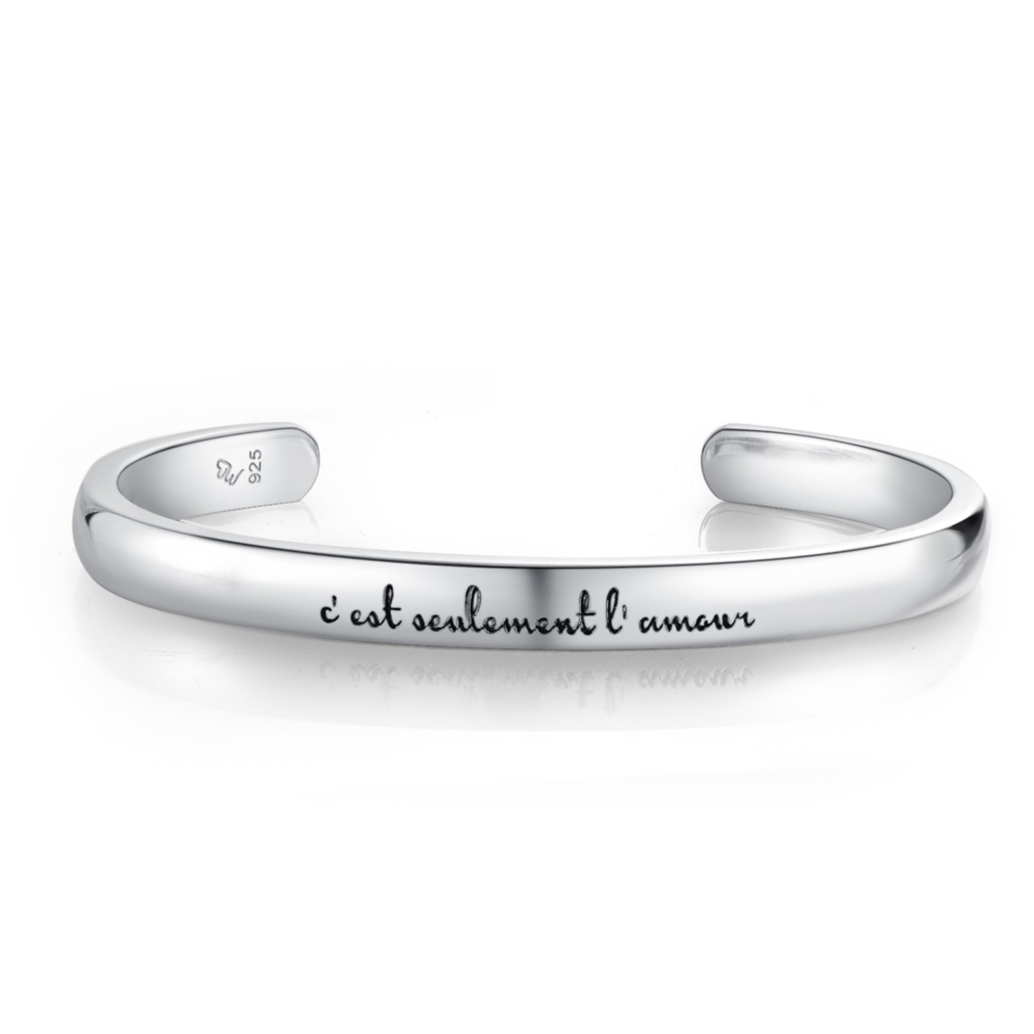 A10417A-925 Silver Couple Bangles male ~58mm