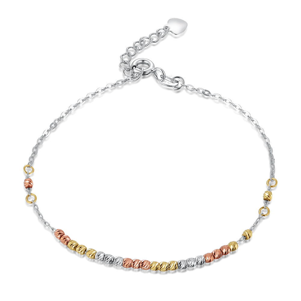 14K/585 YELLOW WHITE RED COLOR GOLD GOLD BRACELET