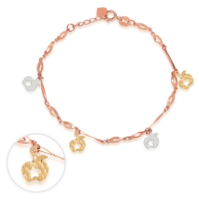 C06196B-14K/585 YELLOW WHITE RED COLOR GOLD GOLD BRACELET