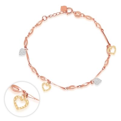 C06197B-14K/585 YELLOW WHITE RED COLOR GOLD GOLD BRACELET