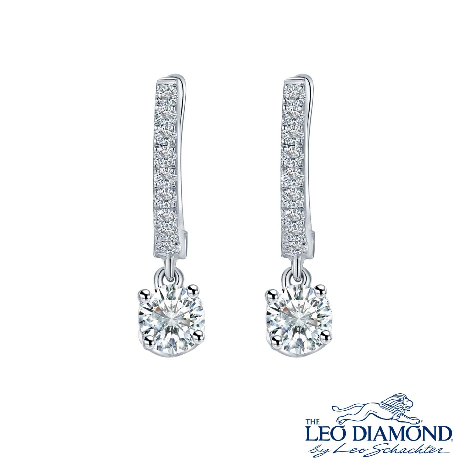 L02574E-18K/750 WHITE COLOR GOLD DIAMOND EARRINGS