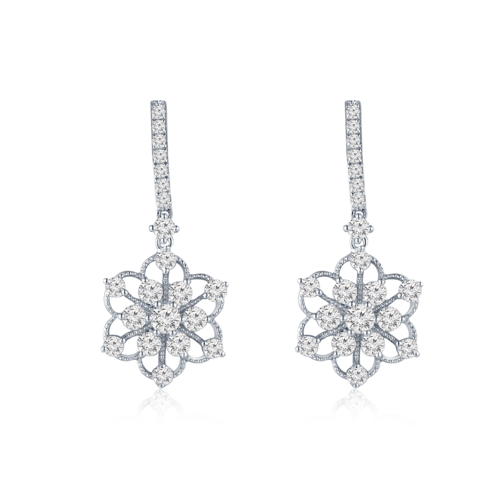 S09100E-18K/750 WHITE COLOR GOLD DIAMOND EARRINGS