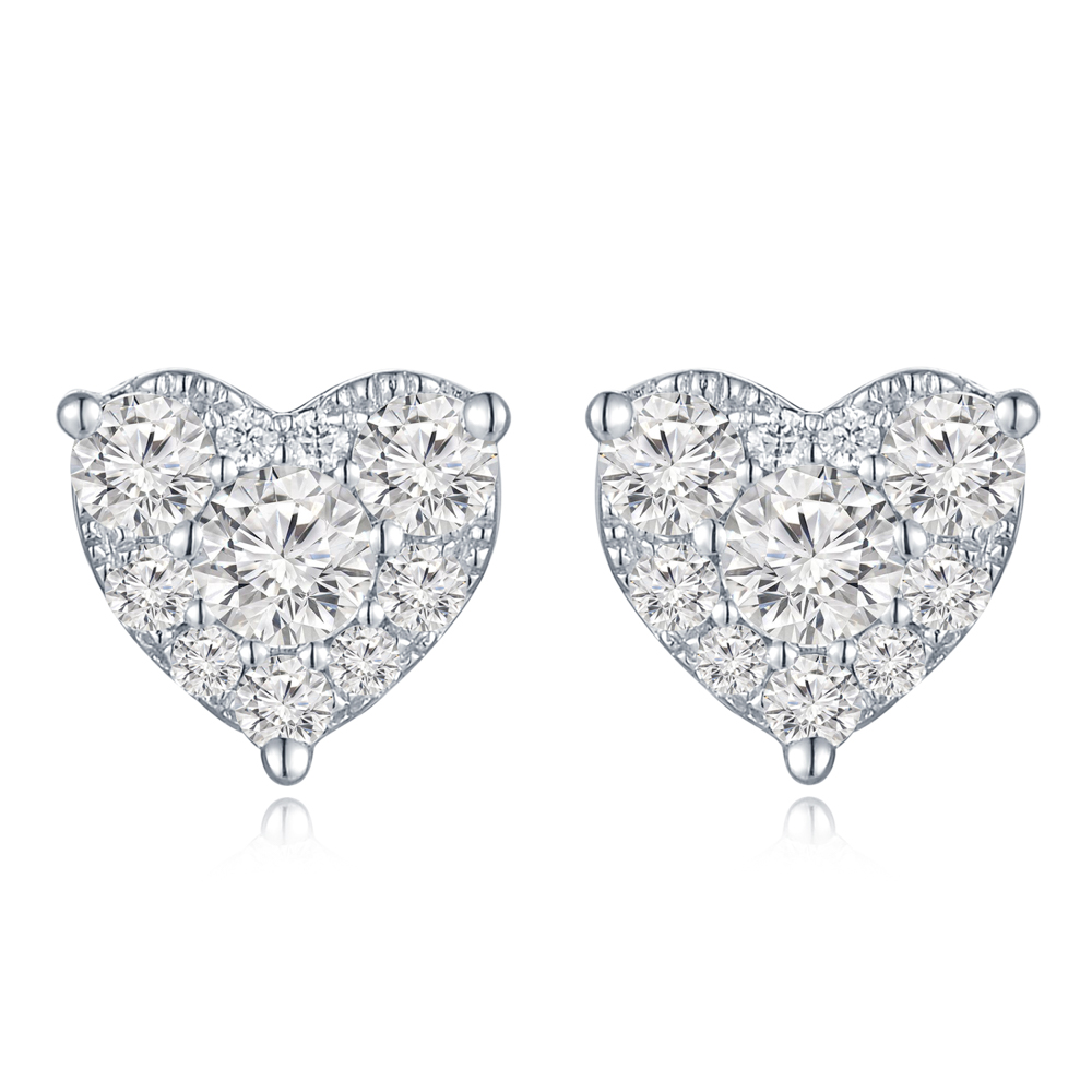 S09983E-18K/750 WHITE COLOR GOLD DIAMOND EARRINGS