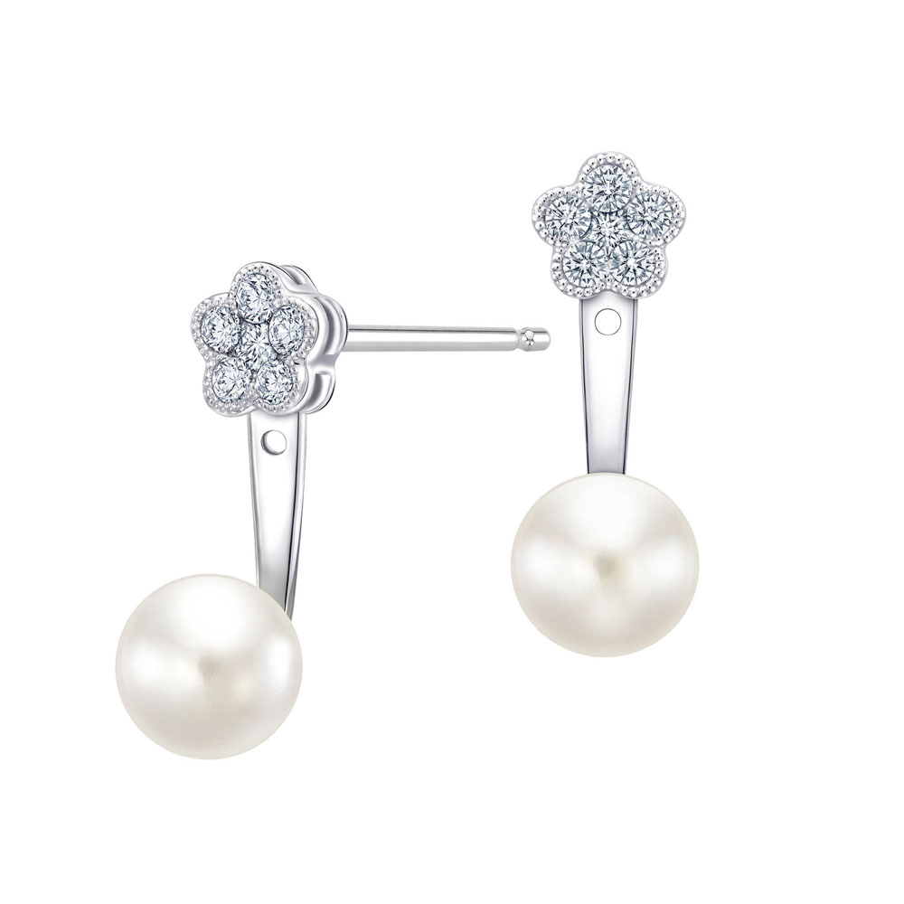 S10113E-18K/750 WHITE COLOR GOLD DIAMOND/PEARL EARRINGS