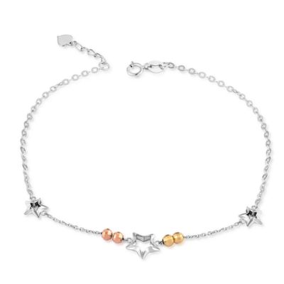 C04957K-14K/585 YELLOW WHITE RED COLOR GOLD GOLD ANKLET