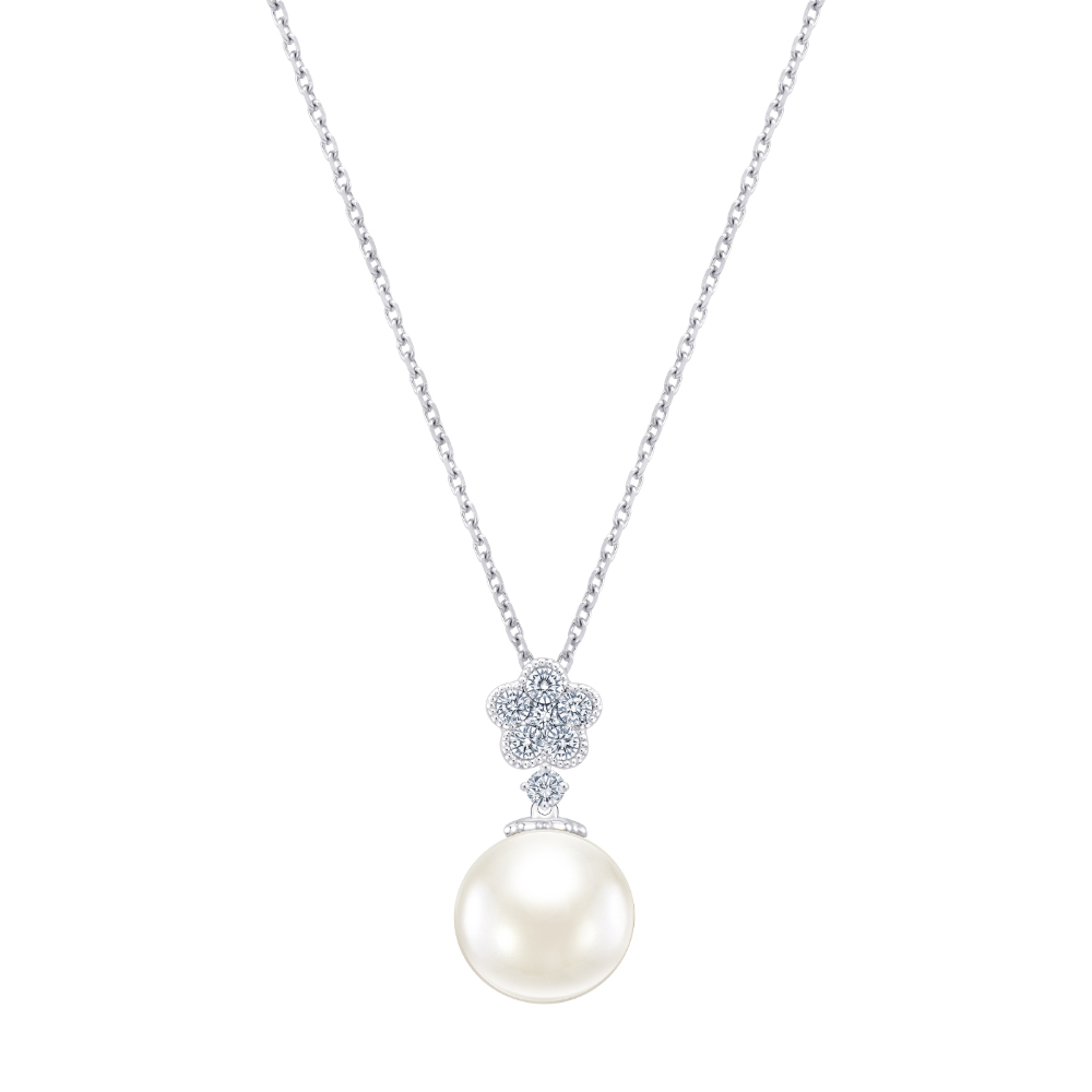 S10113N-18K/750 WHITE COLOR GOLD DIAMOND/PEARL NECKLACE