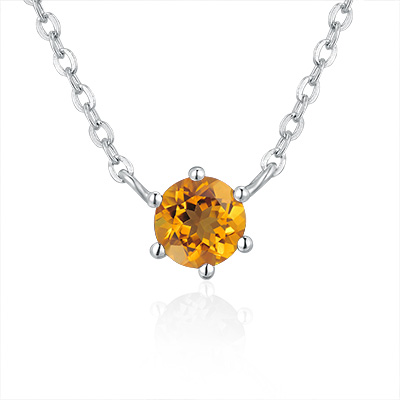 """A10452N-Citrine - 925 Silver Necklace (Necklace is around 15""""+1.5"""")"""