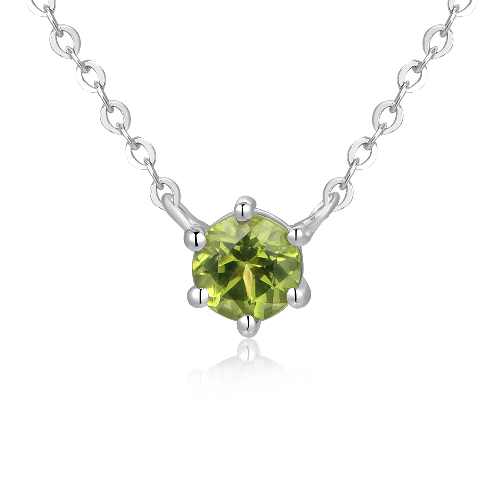 """Peridot - 925 Silver Necklace (Necklace is around 15""""+1.5"""")"""