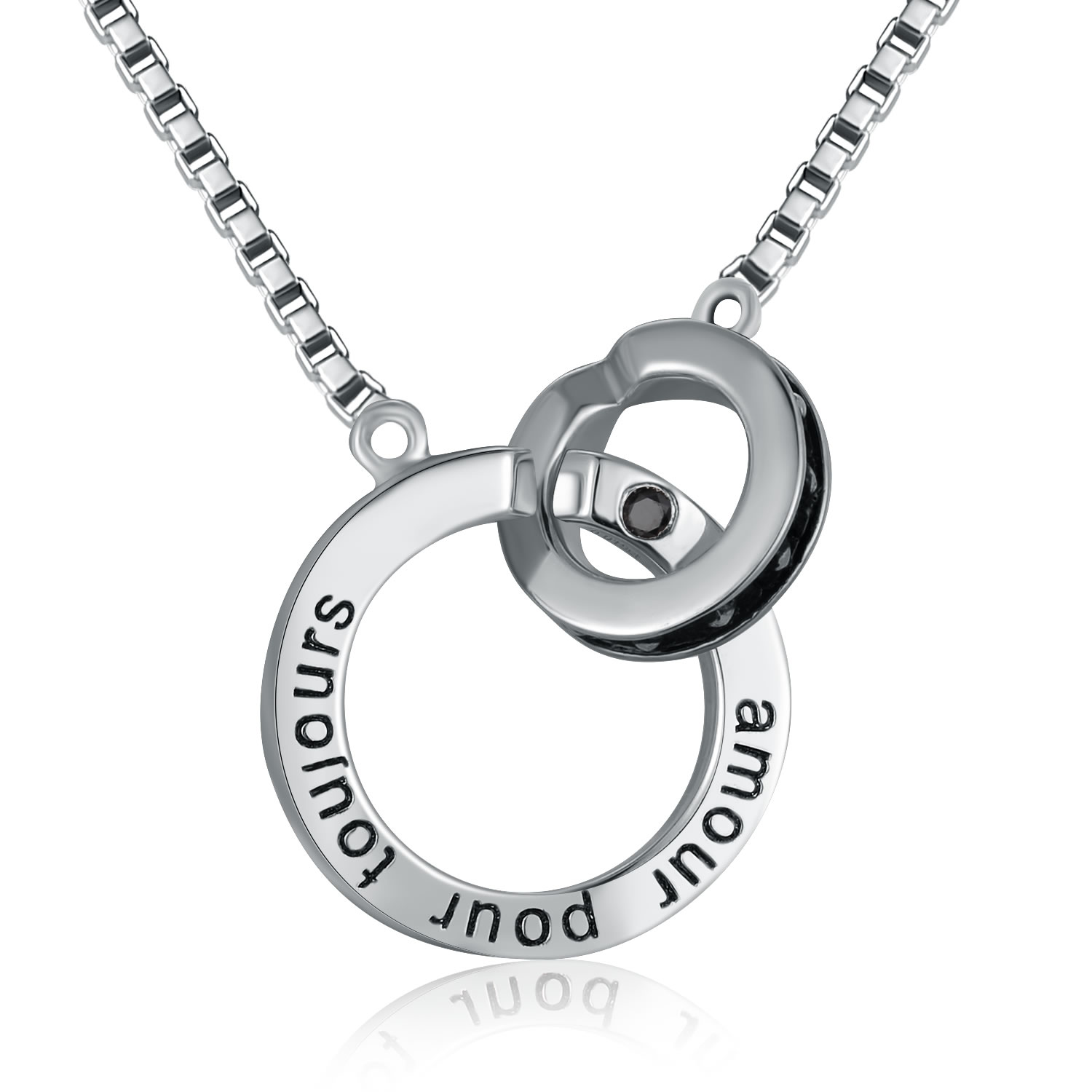 """B06045N-Platinum Plated 925 Silver Couple Necklace (Male 24"""") (Forever Lov.."""