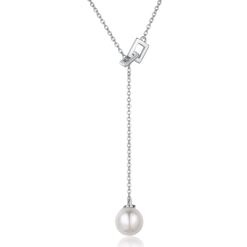 B06577N-925 Silver Pearl Necklace (Pearl Diameter: Around 7.5mm Necklace L..