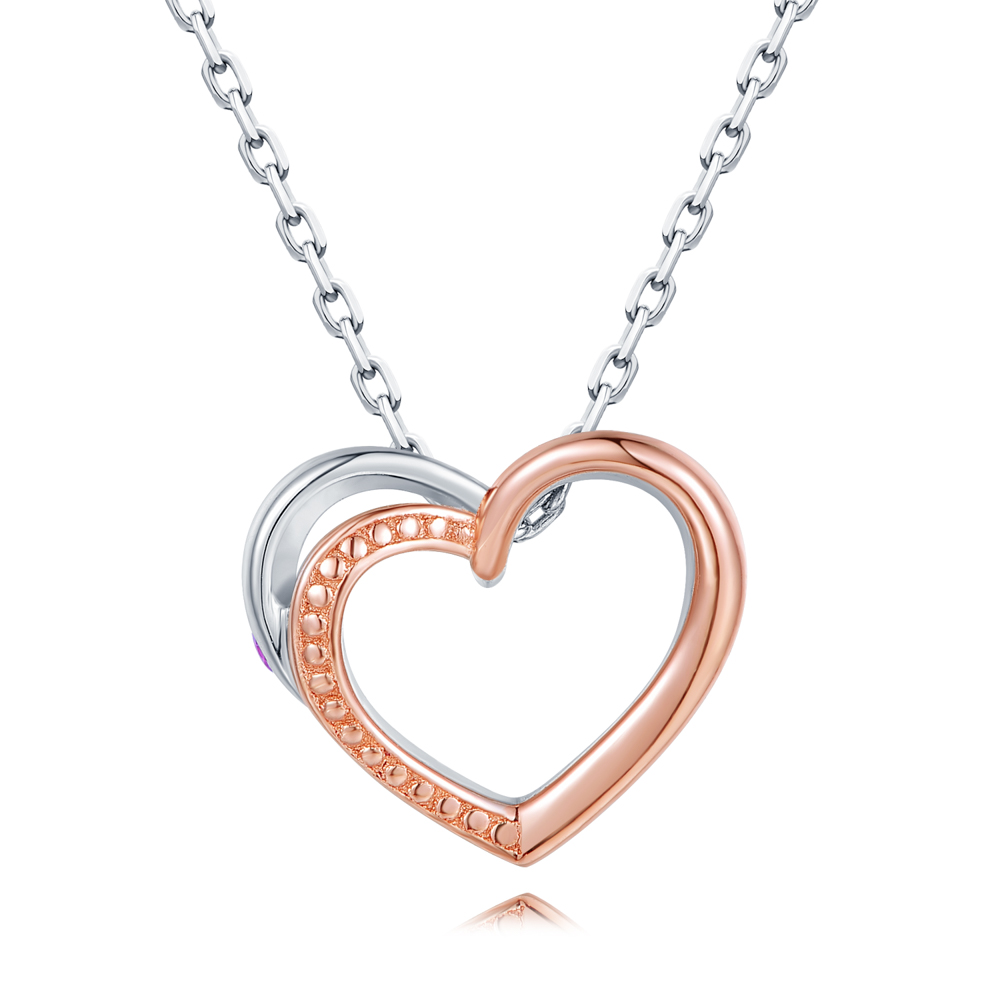 """C07122N-925 Silver Couple Necklace (With You) Female 16"""""""
