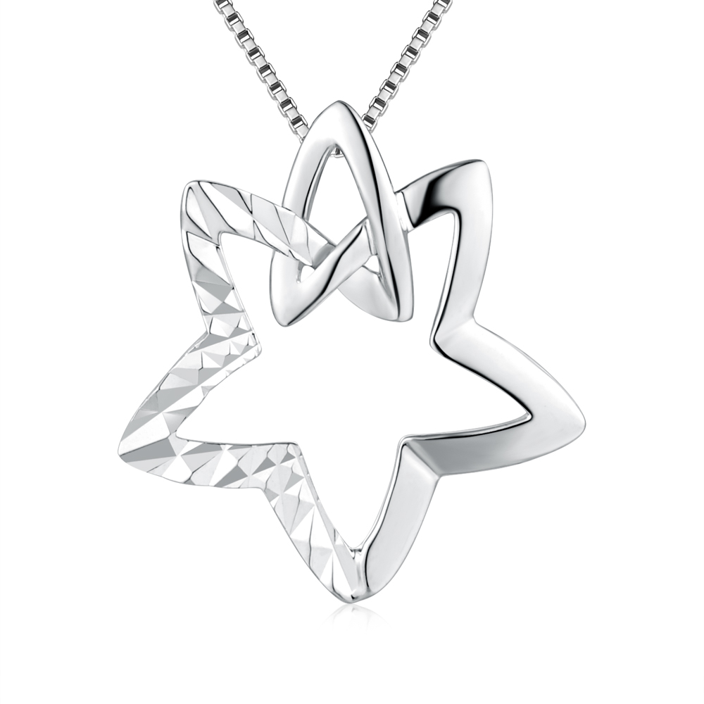 """C05647P-Star Necklace (16"""") - 14K/585 White Gold"""