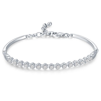 P10824A-18K/750 White Color Gold Diamond Bangle