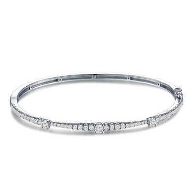 P10993A-18K/750 White Color Gold Diamond Bangle