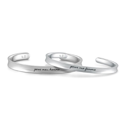 A10418SET-925 Silver Couple Bangles Set