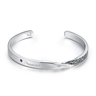 B06464A-Promise 925 Silver Couple Bangle (Men)