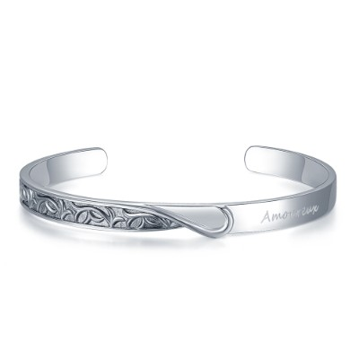 C07133A-Amoureux 925 Silver Couple Bangle (Men)