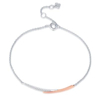 J14356B-18K/750 Rose and White Color Gold Diamond Bracelet