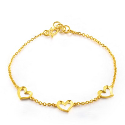 Hearts Connected Gold Bracelet