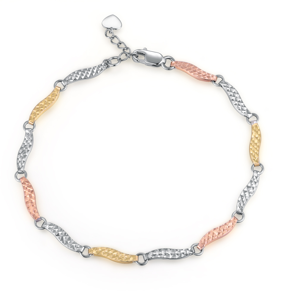 14K/585 Yellow, White and Rose Color Gold Gold Bracelet