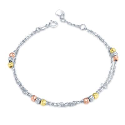 B06798B-14K/585 Yellow, White and Red Color Gold Gold Bracelet