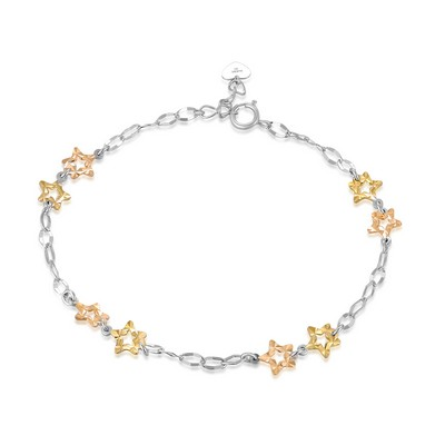 14K/585 Yellow, White and Red Color Gold Gold Bracelet