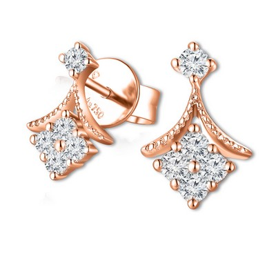 H05901E_KR-18K/750 Red Gold Diamond Earrings