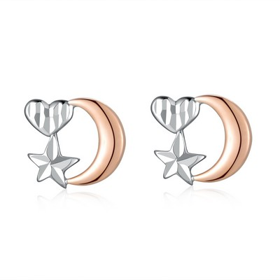 14K/585 Rose and White Color Gold Gold Earrings