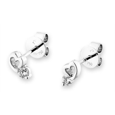 F05433E-18K/750 White Color Gold Diamond Earrings