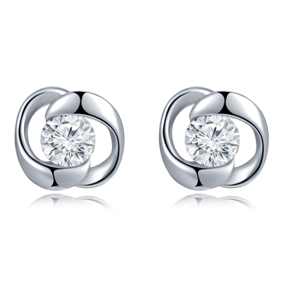 18K/750 White Color Gold Diamond Earrings