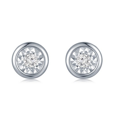 F07347E-18K/750 White Color Gold Diamond Earrings