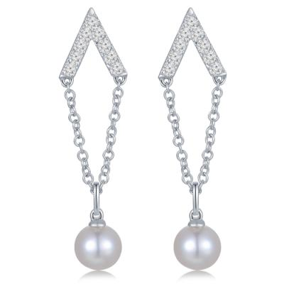 H06316E-18K/750 White Color Gold Diamond/Pearl Earrings