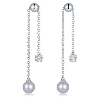 P11054E-18K/750 White Color Gold Diamond/Pearl Earrings