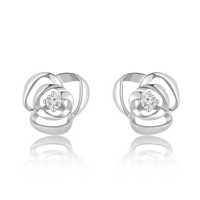 S08178E-9K White Color Gold Diamond Earrings