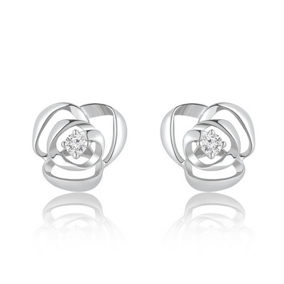 Rosy Dream 9K/375 White Gold Diamond Earrings