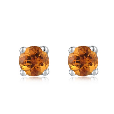 A10562E-Citrine 925 Silver Semi-Precious Stone Earrings