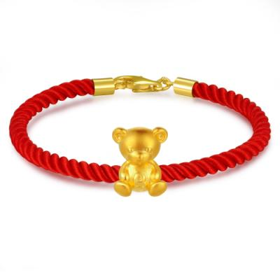 C07058J-Teddy Bear Gold  Charm (Free Red String)