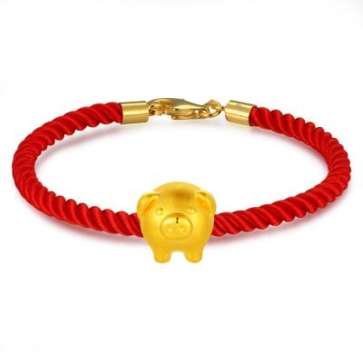 C07060J-Piggy Bank Gold  Charm (Free Red String)
