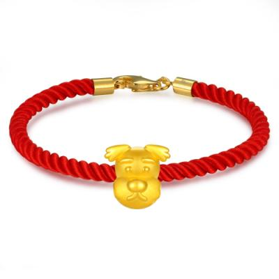 C07299J-Clever Doggy Gold Baby Charm (Free Red String)