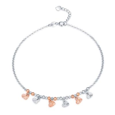 C07853K-14K/585 Rose and White Color Gold Gold Anklet