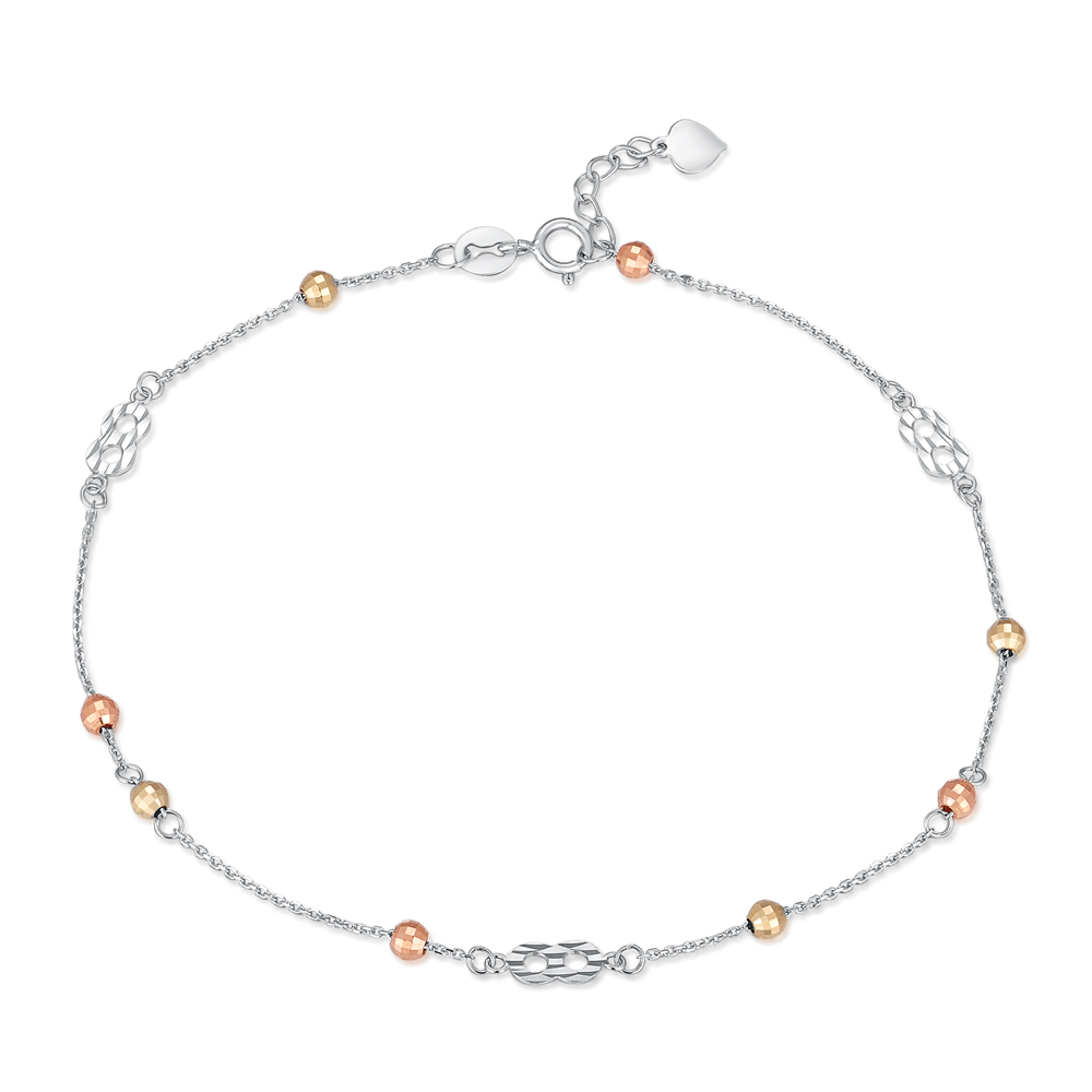C05359K-14K/585 Yellow, White and Red Color Gold Gold Anklet