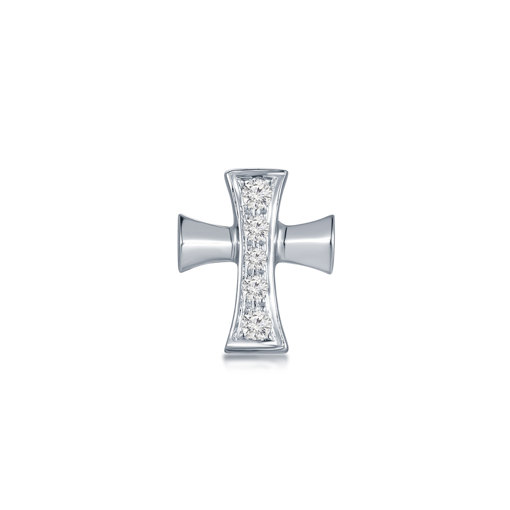 S09443L-18K/750 White Color Gold Diamond Single Earring