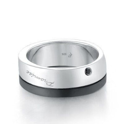 A10559M-Silver 925 Plated Black Color Silver 925 Men's Ring
