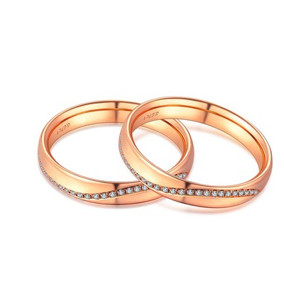 P10331MR-18K/750 Red Color Gold Diamond Wedding Rings