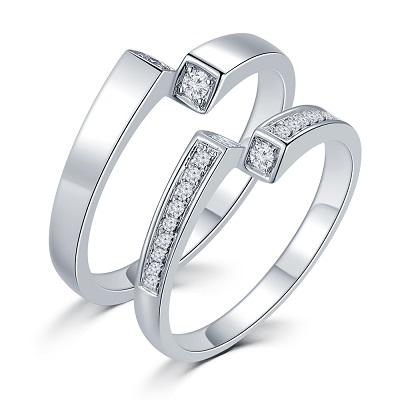 J11596MR-18K/750 White Color Gold Diamond Wedding Rings