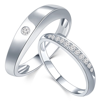 P10134MR-18K/750 White Color Gold Diamond Wedding Rings