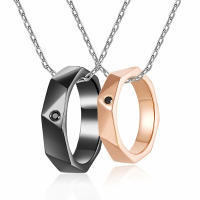 Love Circles 925 Sterling Silver Couple Rings Necklaces